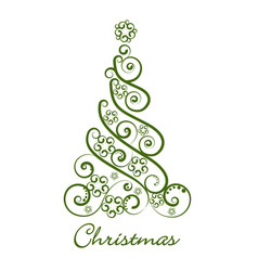 festive green christmas tree icon vector image