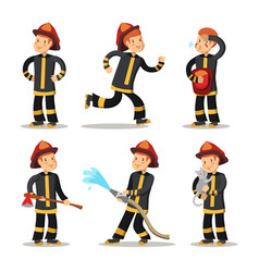Fireman cartoon character set firefighter vector