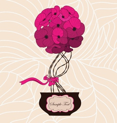 Flower bouquet in cute flowerpot vector image