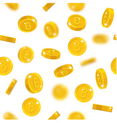 Flying gold bitcoins seamless pattern vector