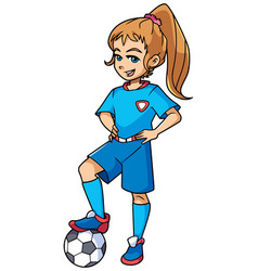 Football girl standing vector