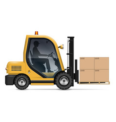 Forklift with carton boxes on pallet vector