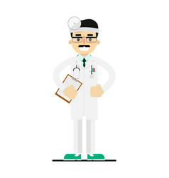 friendly young doctor in medical uniform vector image