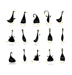 funny goose set sketch for your design vector image