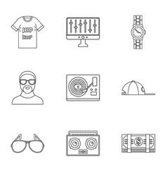 Gangsta rap icon set outline style vector