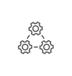 Gears outline icon elements business line icon vector