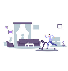 Girl running on treadmill sportswoman working out vector