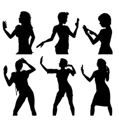 Girl silhouettes taking selfie with smart phone vector image