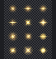 glowing stars realistic lighting shining effects vector image