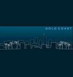 Gold coast multiple lines skyline and landmarks vector