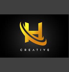 Golden letter h logo h letter design with golden vector