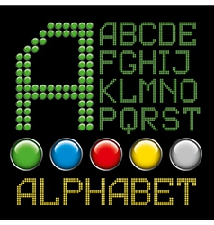 green battons letters alphabet p1 vector image