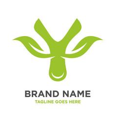 green leaf logo initials y vector image