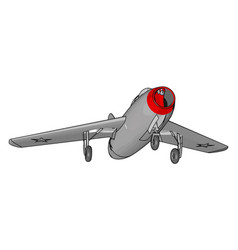Grey jet plane with three landing wheels and red vector