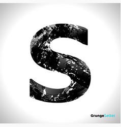 Grunge letter s black font sketch style symbol vector