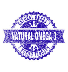 Grunge textured natural omega 3 stamp seal with vector