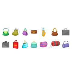 hand bag icon set cartoon style vector image