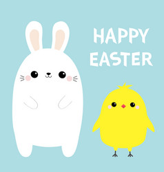 happy easter bunny chicken bird set white rabbit vector image