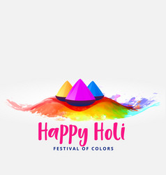 Happy holi colors elements festival card greeting vector