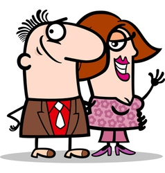 happy man and woman couple cartoon vector image
