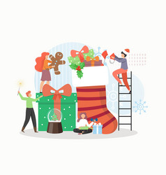 happy people packing gift boxes gingerbread vector image