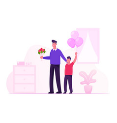 Happy young father with flower bouquet and little vector