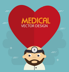 heart cardio with doctor character vector image