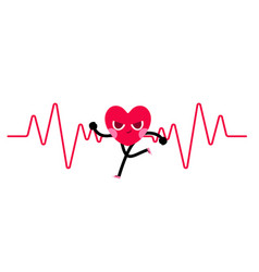 heart character goes running with heart rate vector image