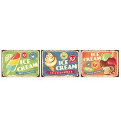 ice cream set retro signs vector image