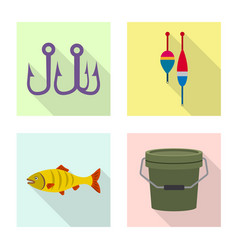 isolated object of fish and fishing icon vector image