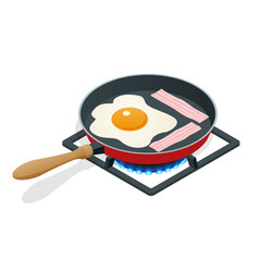 Isometric fried eggs with bacon in a frying pan vector