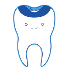 Kawaii restored tooth with root in blue silhouette vector