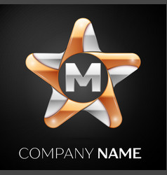 letter m logo symbol in the colorful star on black vector image