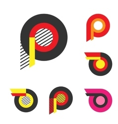 Letter P Or Wheel With Fire Logo Minimalism Art vector