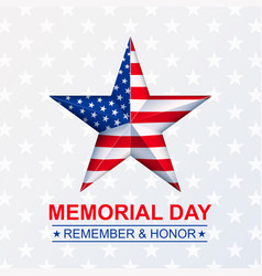memorial day with star in national flag vector image