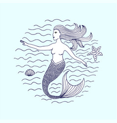 mermaid hand drawn vector image