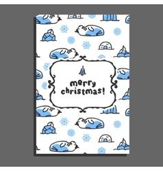 Merry christmas greeting card with cute cartoon vector