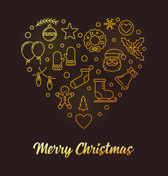 merry christmas heart golden xmas line vector image
