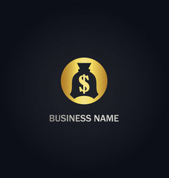 Money bag dollar gold logo vector
