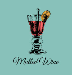 mulled wine glass isolated hand drawn sketch of vector image