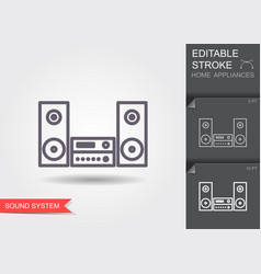 music center line icon with editable stroke with vector image