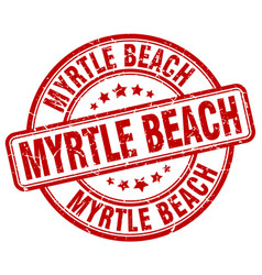 Myrtle beach red grunge round vintage rubber stamp vector