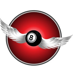 Number eight bingo ball with wings over metallic vector image