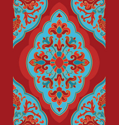 oriental red and blue ornament vector image