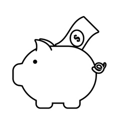 Piggy money bill dollar safety icon outline vector