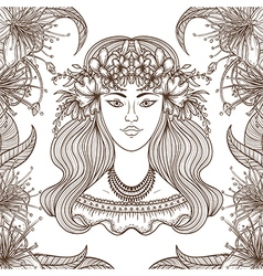 Portrait of gypsy woman with flowers vector