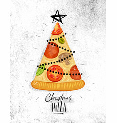 Poster christmas tree pizza vector