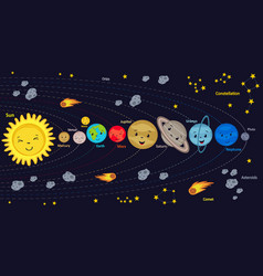 poster with cute kids solar system vector image