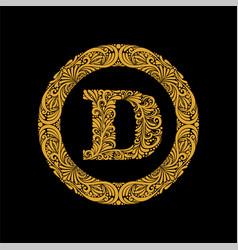 Premium elegant capital letter d in a round frame vector