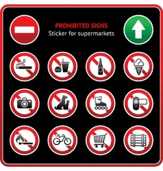 prohibited signs sticky label for supermarkets vector image